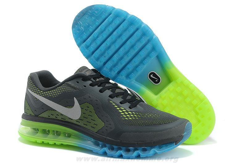 meet ec686 10254 Hommes Nike Air Max 2014 Charcoal Bleu Vert Argent Chaussures 621078-100