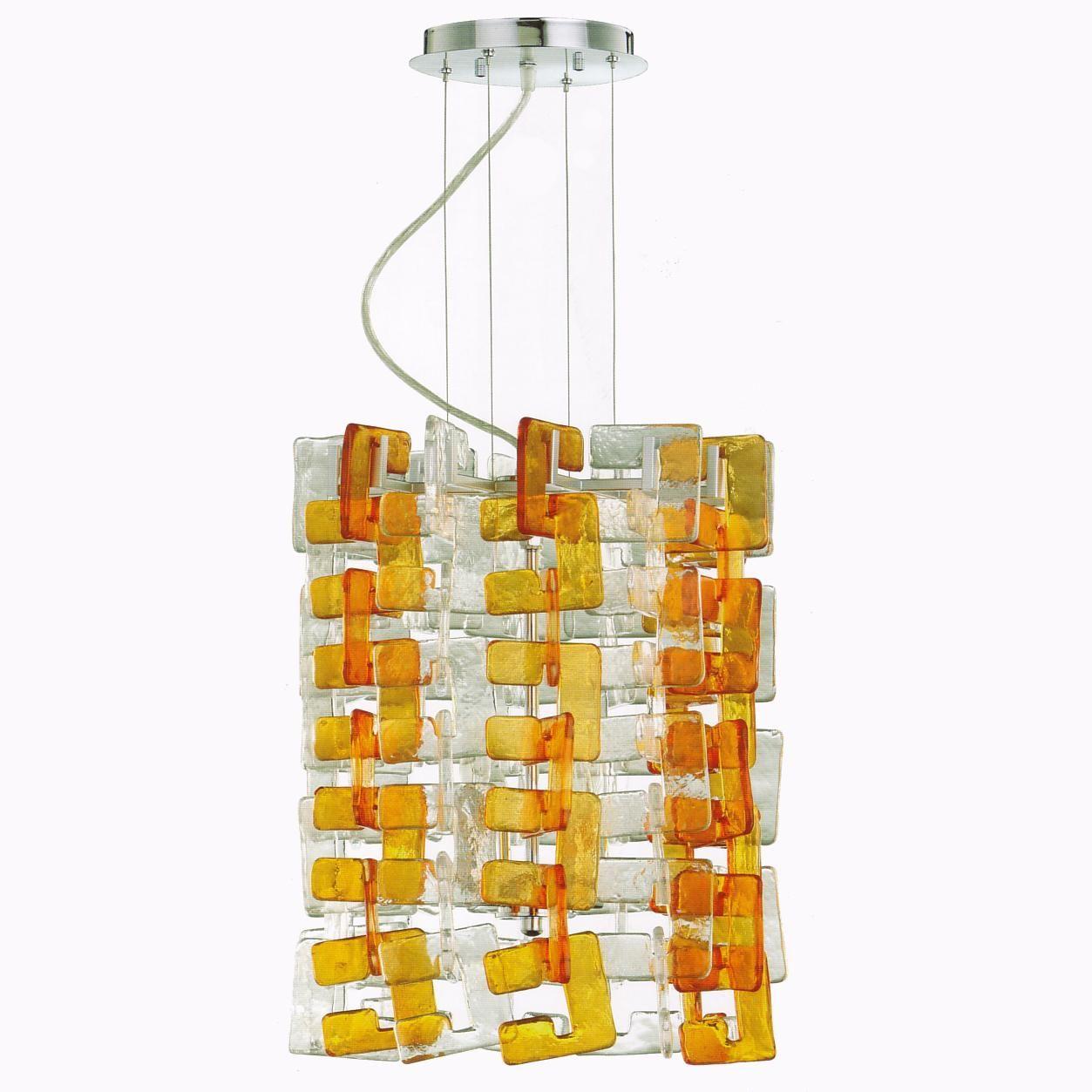 Havilland 4 Light Pendant by Cyan Design shown with (optional) Orange Murano Glass Link Extension Sets. #Shopcandelabra #RetroWave