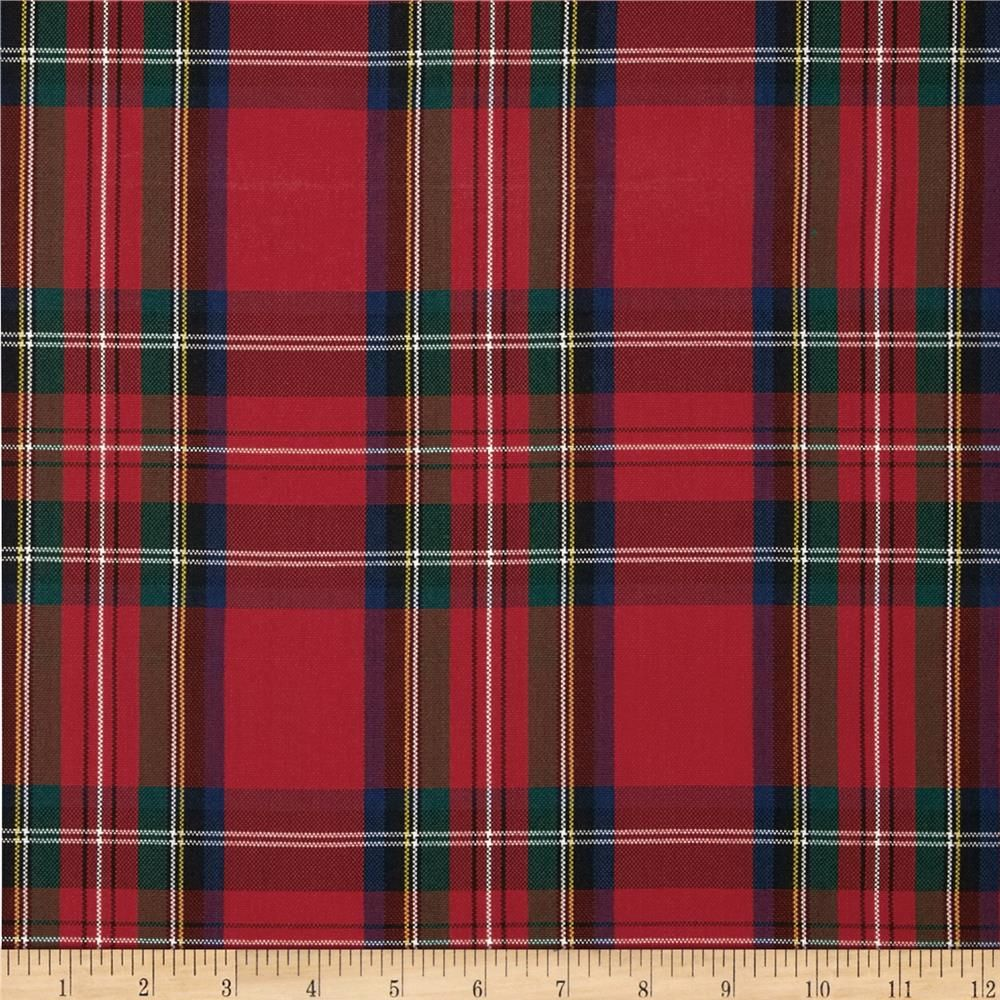 Polyester Uniform Plaid Red Green Blue Woven Fabric And