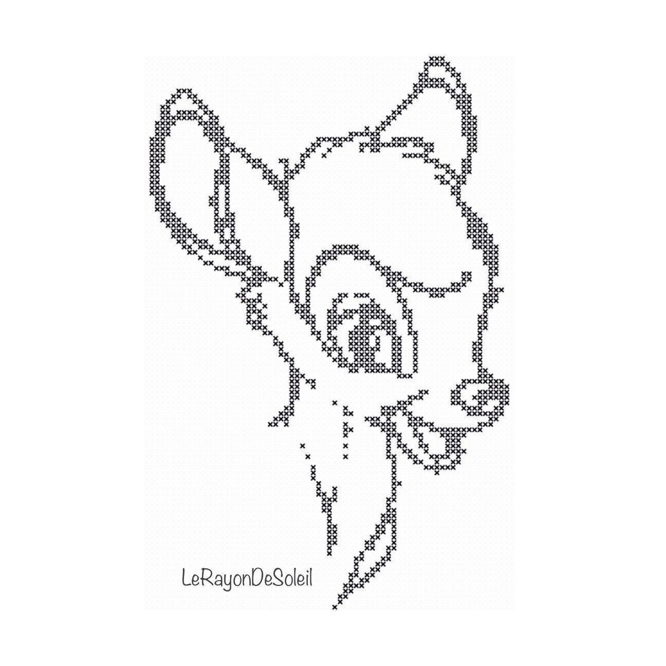 Cross stitch pattern Bambi vintage sketch door LeRayonDeSoleil ...