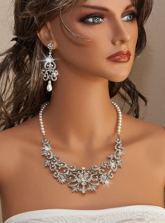 NICOLA - Vintage Inspired Rhinestone and Swarovski Pearl Bridal Necklace  $79.99 Handmade by www.OliniBridal.com in US!  Name Your Price and Buy it at The Lowest Price Possible!  #wedding #bridal necklace #bridal jewelry