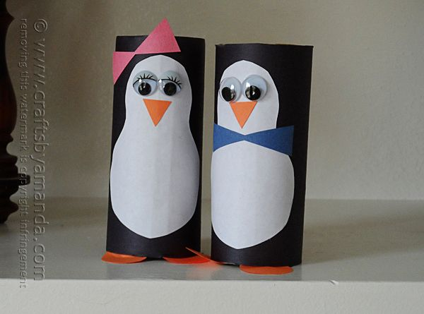 Cardboard tube penguins recipe toilets cute penguins for Where to buy cardboard tubes for craft