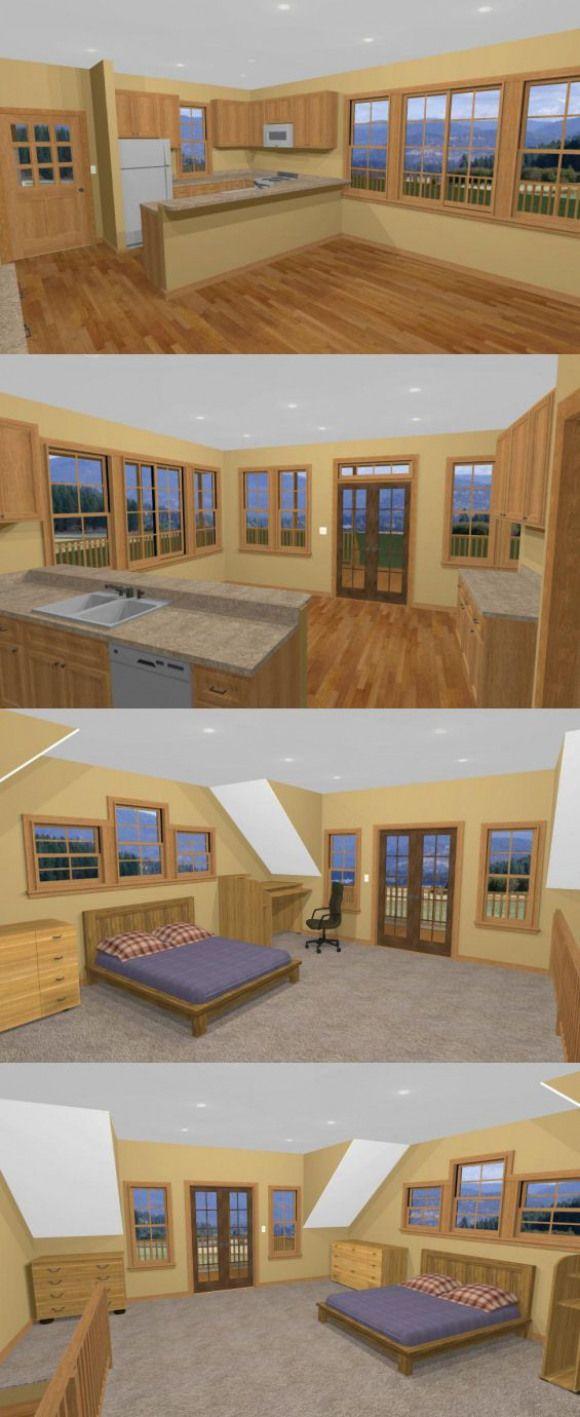 Framing A 10x10 Room: 20x20 House -- #20X20H5D -- 718 Sq Ft #shedplans
