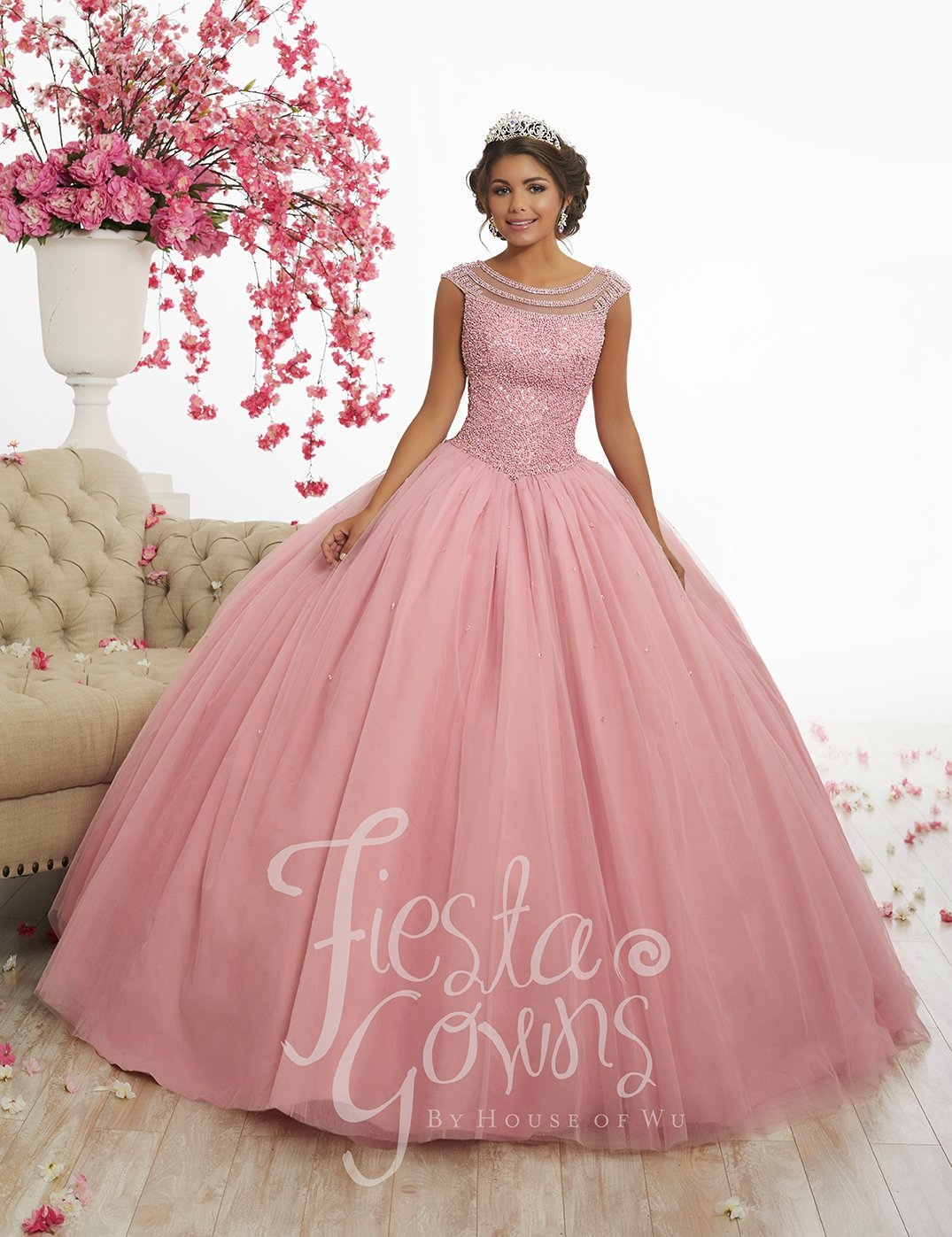 Embellished Cap Sleeve Quinceanera Dress by Fiesta Gowns 56340 ...