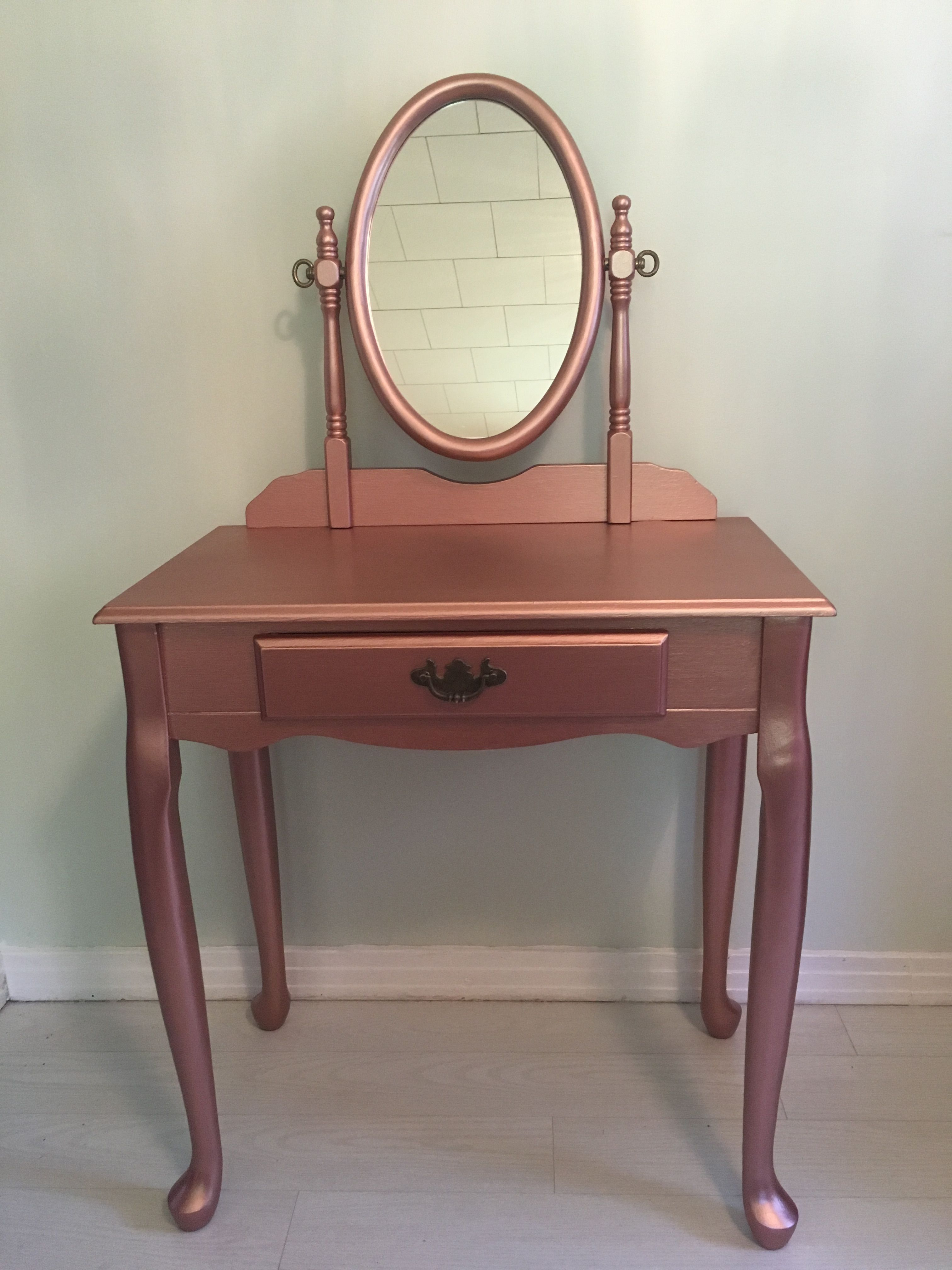 I Painted This Cherry Wood Vanity Rose Gold For My Mother She Loved It Gold Painted Furniture Diy Gold Decor Rose Gold Furniture