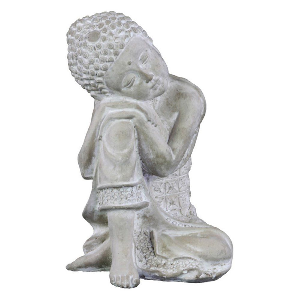 Urban Trends Cement Rounded Ushnisha Sitting Buddha Figurine - Set a calming…
