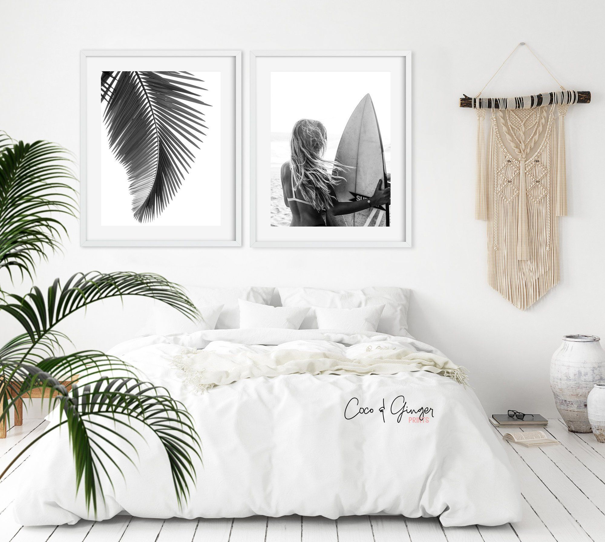 Photo of Surf and Ocean Print Set, Surfer Poster, Surfing Print, Boho Digital Print, Black And White Surf, Beach Coastal Decor, Tropical Wall Art