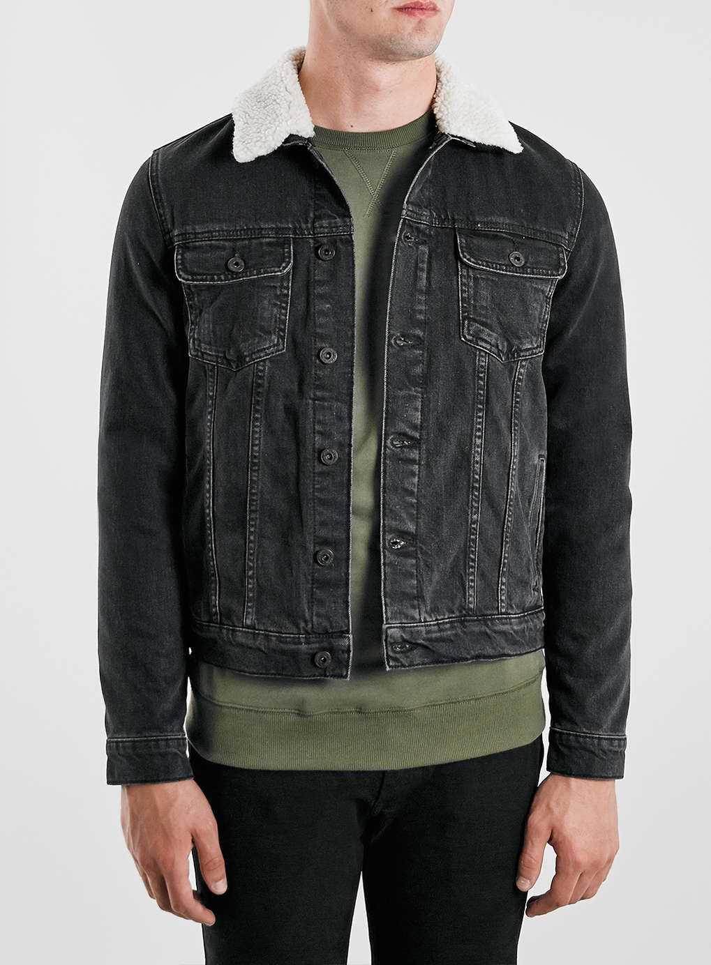 fb8cffeeea Washed Black Borg Denim Jacket - Topman