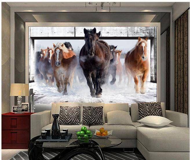Tapete kundenspezifische tapete 3d stereoskopischen nonstop 3d wandbild tapete papel de parede - Pferde tapete kinderzimmer ...