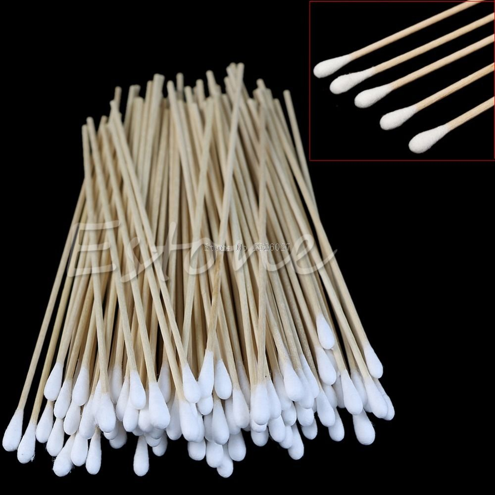 100pcs swabs 6 long wood handle sturdy cotton applicator