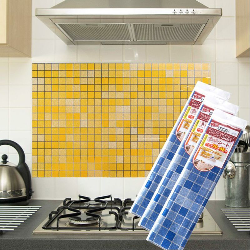 New Solid Clear High Temperature Resistant Heat Resistance Oil Proof Kitchen Tile Wall Stickers Decal Dengan Gambar