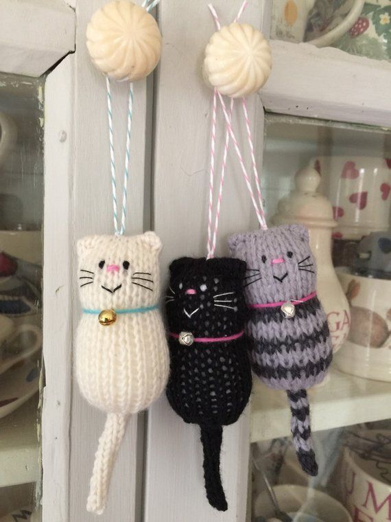 Cat - Fat Cat hand knitted Decoration, Hanger Ornament, Cat Lover Gift #knittedtoys