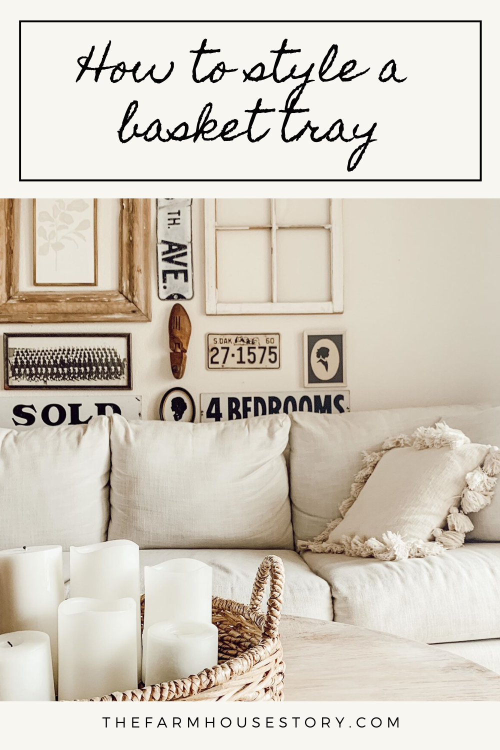 Learn how to style a basket tray two simple ways on the blog! #livingroom #neutraldecor #baskettray