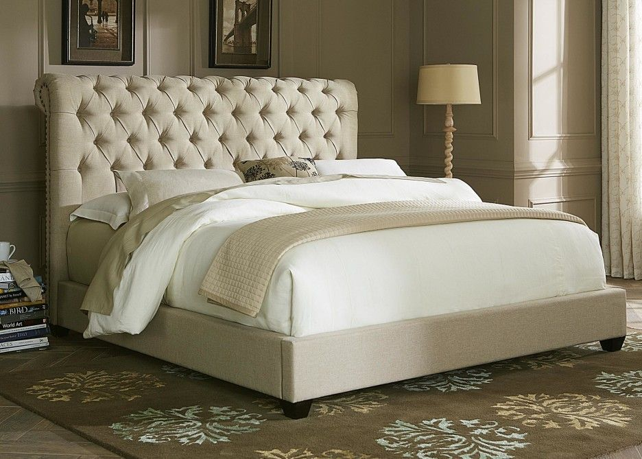 Bedroom Cal King Size Padded Platform Bed With Tufted Ivory