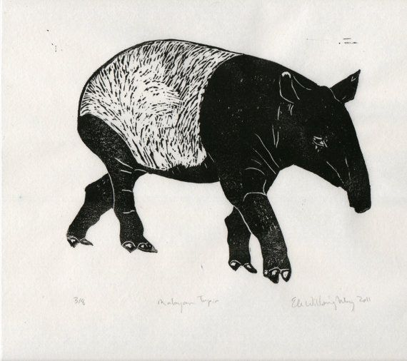 Malayan Tapir Linocut Black and White Block Printed by minouette