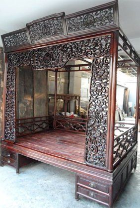 Exquisite Antique Chinese Rosewood Carved Canopy Bed : chinese canopy bed - memphite.com
