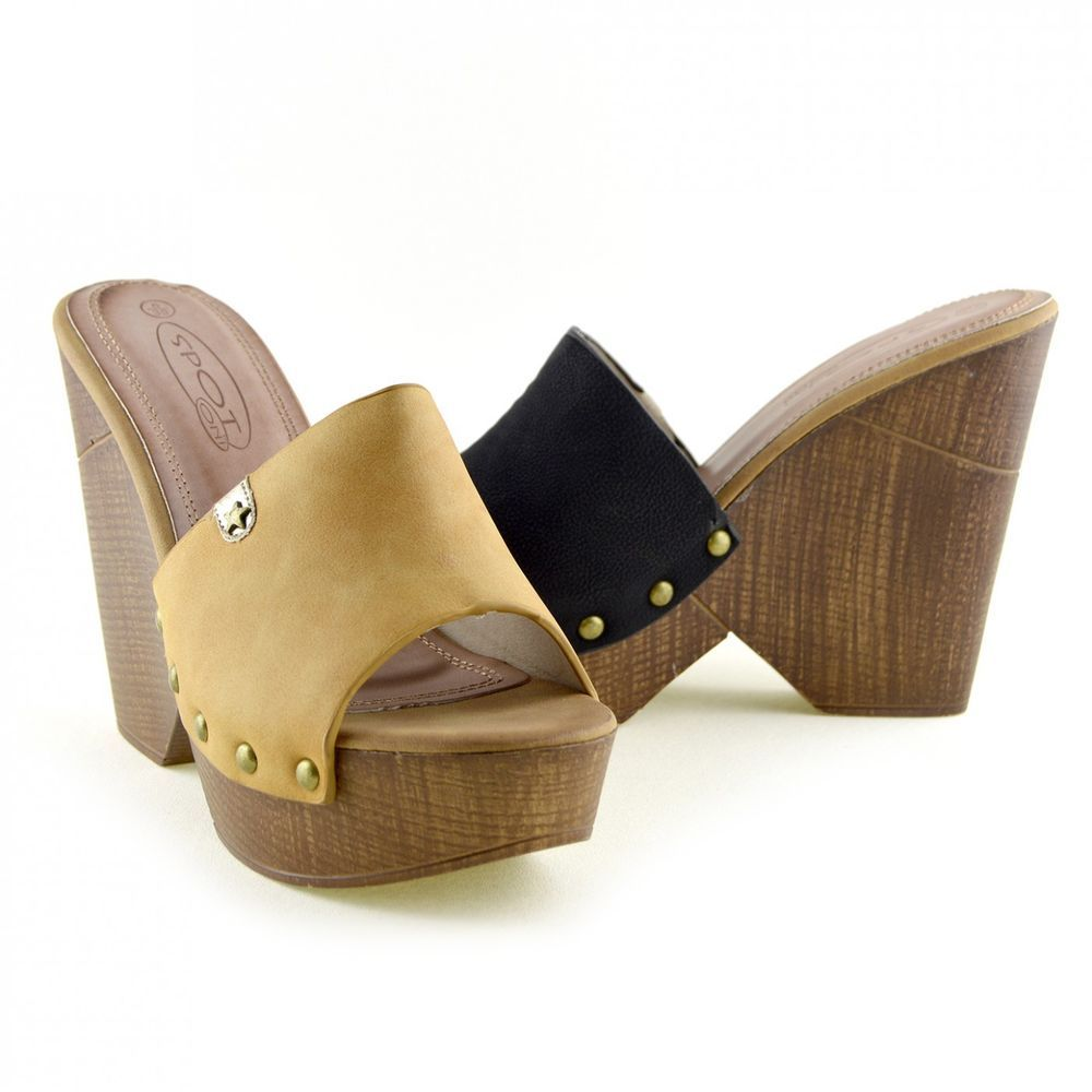 ab3ce7849d8 Ladies Slip On Wooden Effect Wedge Heeled Clog Mules