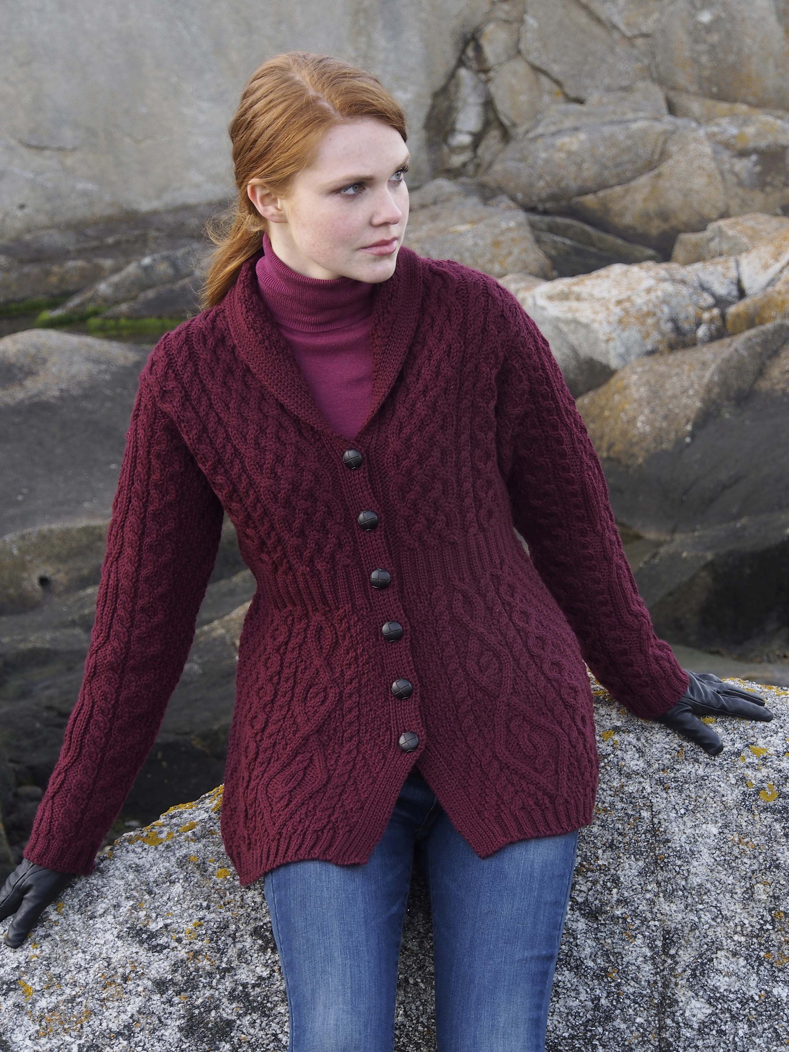 Shawl aran cardigan by natallia kulikouskaya for west end knitwear our wool shawl neck cardigan is made in ireland of oure new wool fashionable yet traditional aran cable knit shawl neck cardigan direct from aran sweater bankloansurffo Gallery
