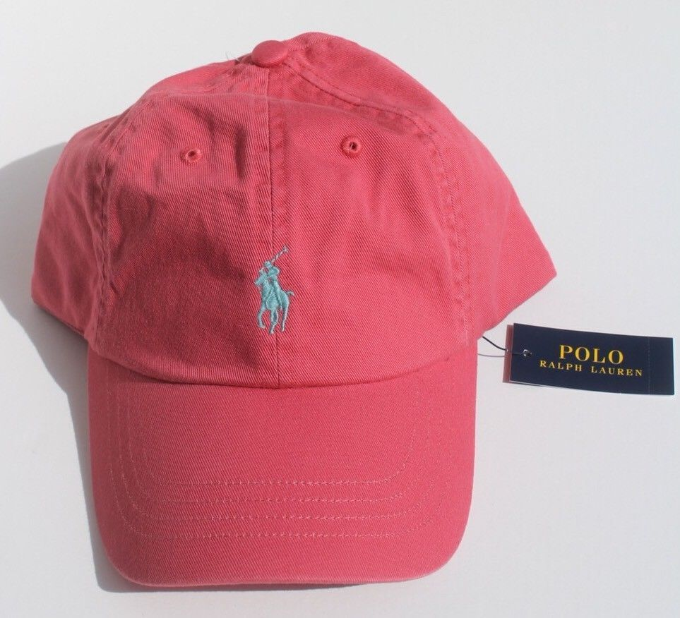 bd2bfdef46297 POLO RALPH LAUREN Men s Chino Hat Sport Baseball Cap Salmon Berry Coral red  NEW  fashion