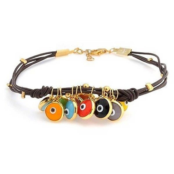 Bling Jewelry Bling Jewelry Sterling Silver Leather Cord Evil Eye... (1.520 RUB) ❤ liked on Polyvore featuring jewelry, bracelets, brown, brown jewelry, charm bracelet, sterling silver jewelry, evil eye jewelry and colorful bangles