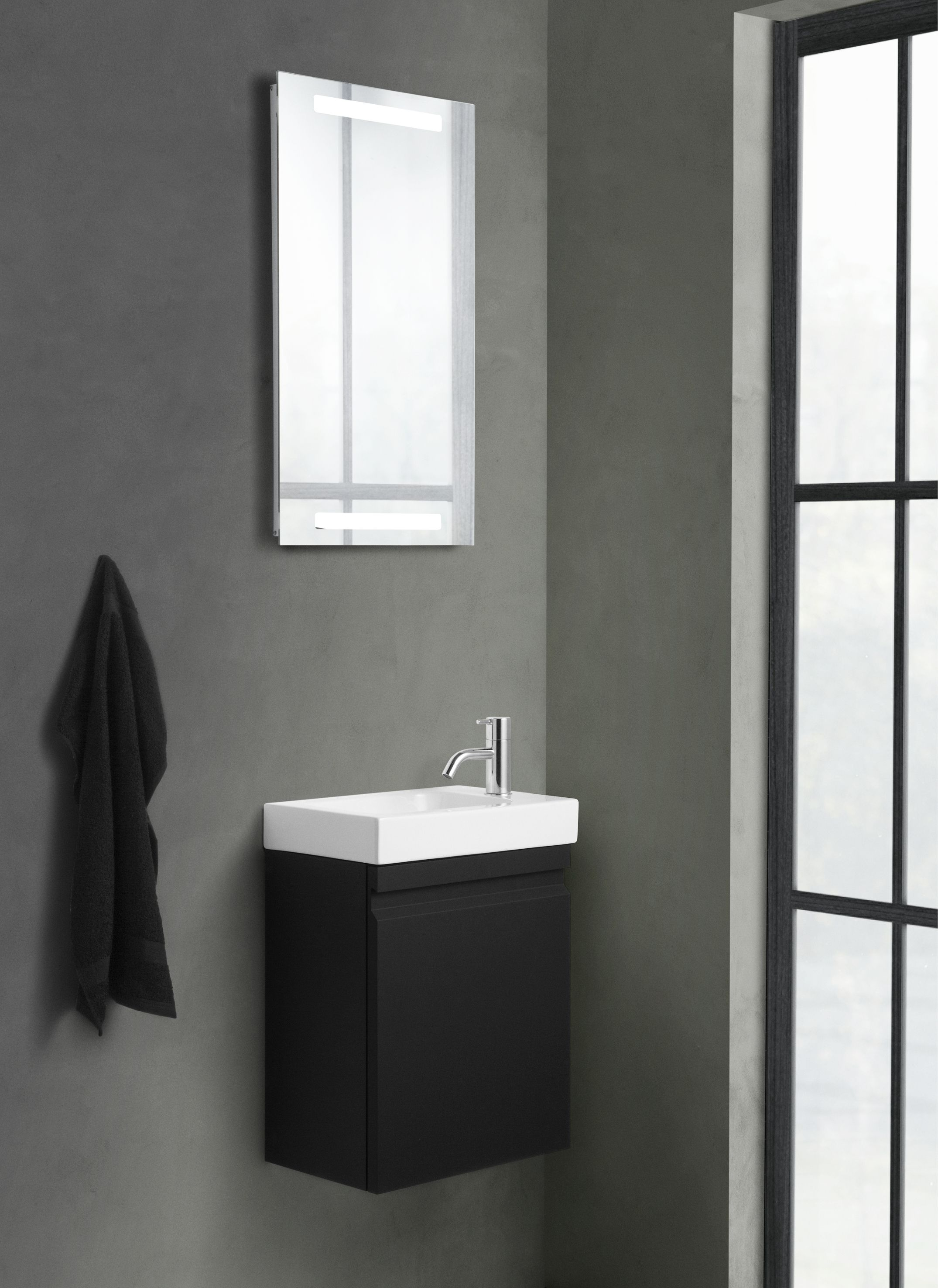 Micro Menuet washbasin for the small and narrow bathroom.