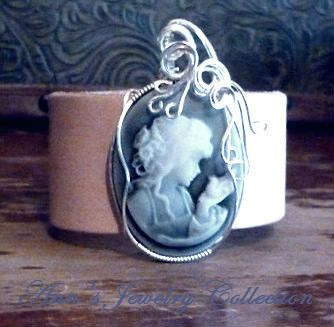 Sterling Silver Wire Wrapped Cameo on a Leather Cuff