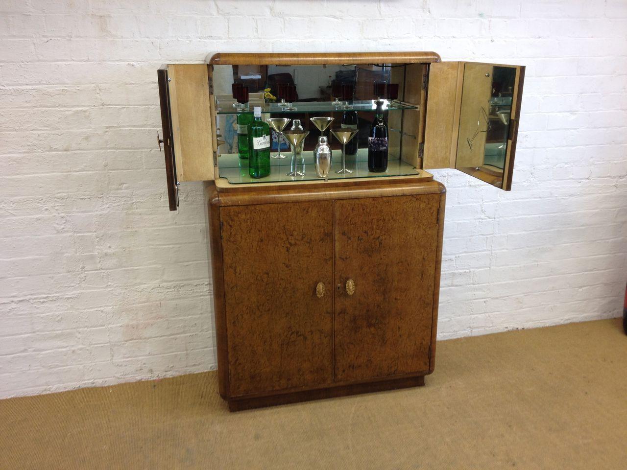Amazing Large Art Deco 192039s Walnut Cocktail Cabinet