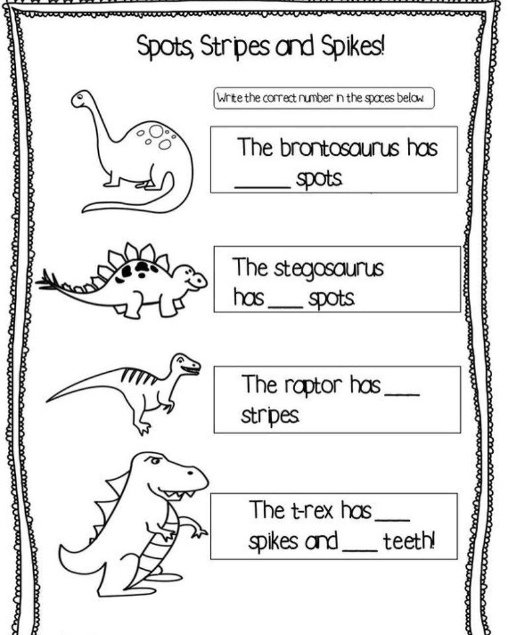 Sp On Instagram Dinosaurs Worksheets Worksheetsforkids In 2020 Worksheets For Kids Freebie Dinosaur Activities
