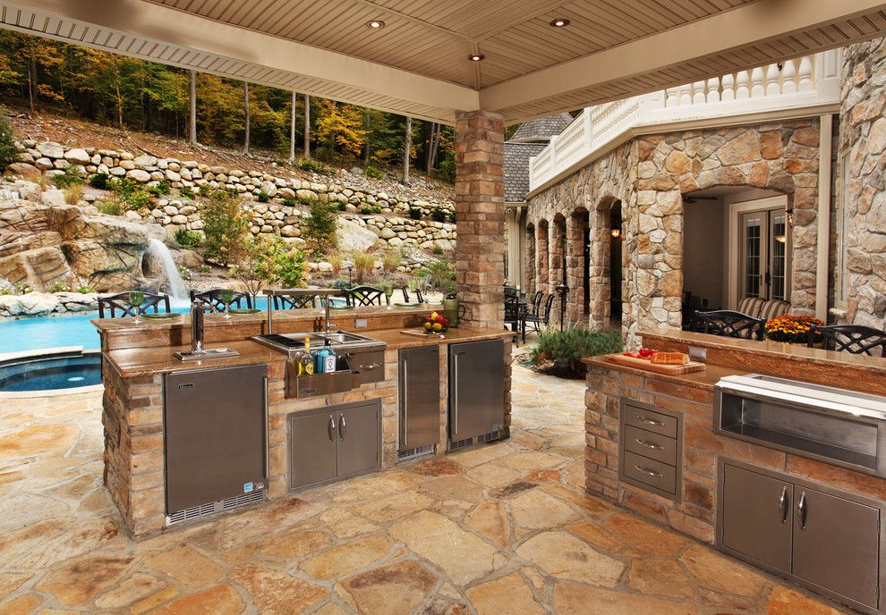 outdoor kitchens patio contemporary with pool waterfall rock wall