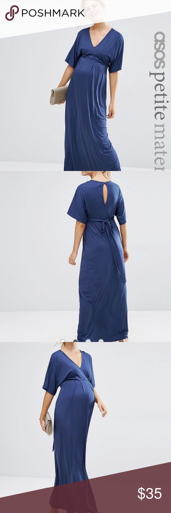 ASOS maternity petite kimono maxi dress ASOS maternity petite kimono maxi dress - navy, size 2. I wore it once for a few hours at an event. Really comfy and flattering. ASOS Maternity Dresses Maxi