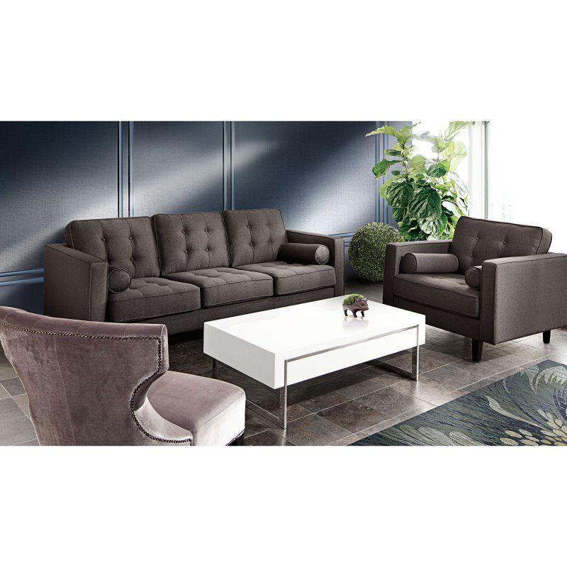 Diamond Sofa Neptune Tufted Sofa And Chair Set With Bolster