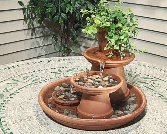 creative ideas diy terracotta pot fountain garten pinterest terrakotta t pfe terrakotta. Black Bedroom Furniture Sets. Home Design Ideas