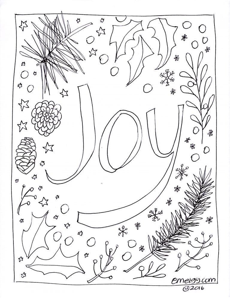 Free Adult Coloring Page Christmas Joy 001 Coloring Pages Free