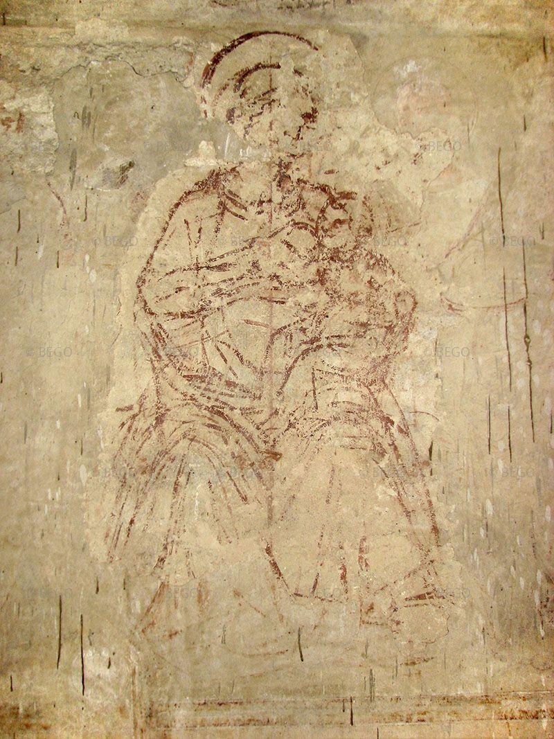 Vergine in trono (sinopia), tabernacolo della Madonna della Tosse, Castelfiorentino.