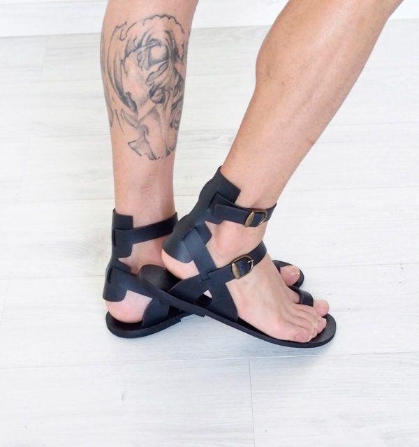 a4cd690ea mens tall knee high gladiator sandals black leather stylish Goth Specks - Goth  Specks