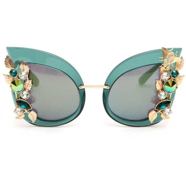 247027c261a8 DOLCE   GABBANA Jewlery embellishment  botanic garden  sunglasses found on  Polyvore featuring accessories