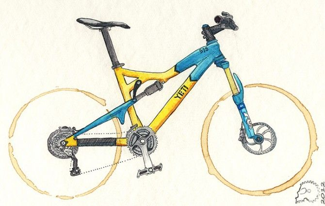 Bikes drawn from coffee rings by Garrett Olsen. In this case a Yeti ...