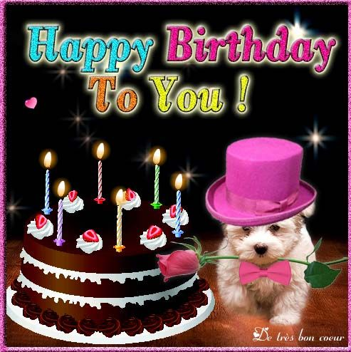 Cute Happy Birthday Card Ecard For My Lovely Friend Send This Animated Music To Your Near And Dear Ones Dog Cake Roses