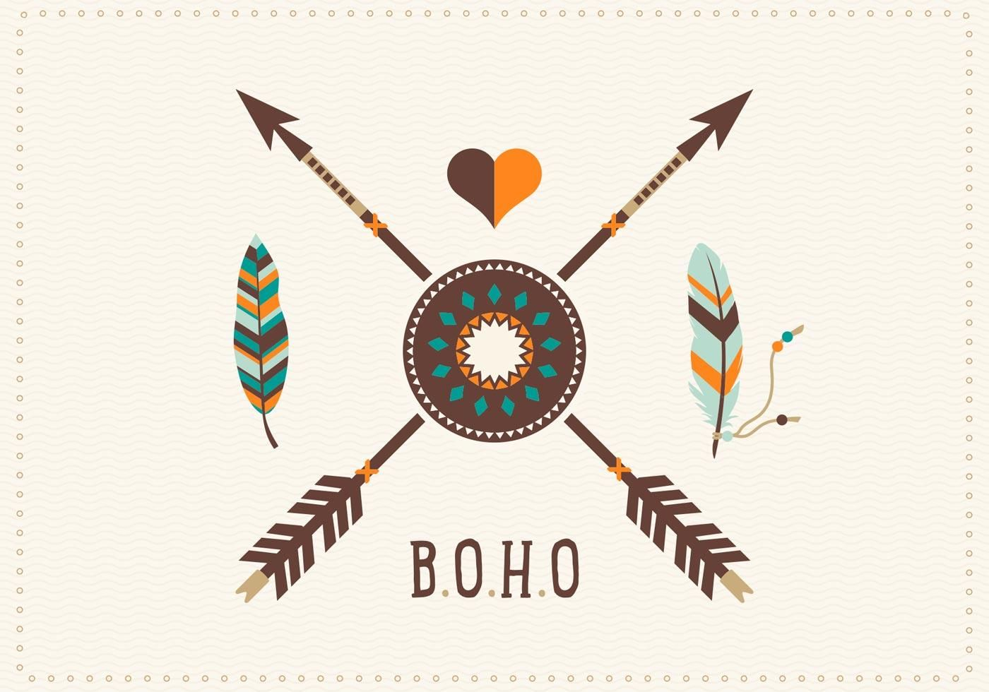 Free Boho Feathers With Arrows Vector Art Feather