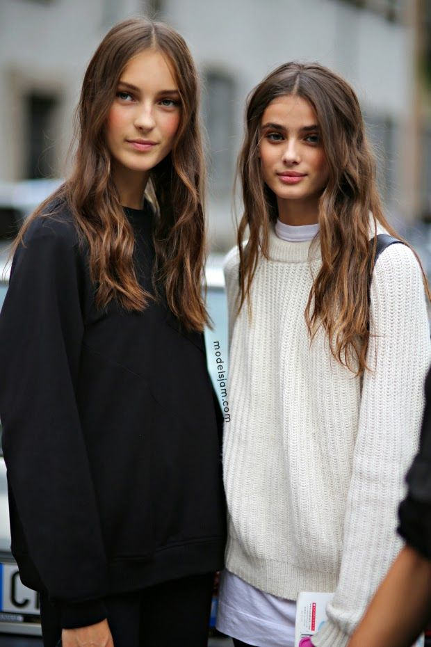 Julia Bergshoeff and Taylor Hill after Alberta Ferretti, Milano, September 2014