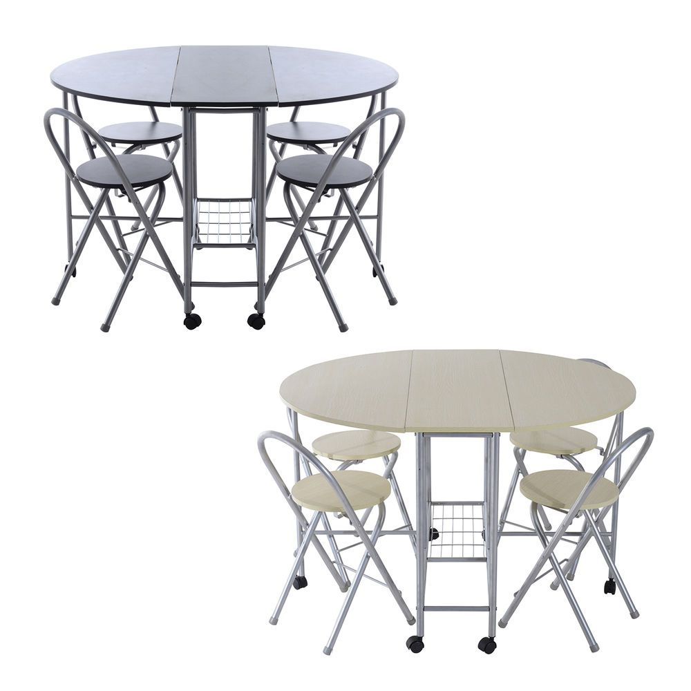 Compact Dining Table Chair Folding 5 Pcs Kitchen Butterfly Set Steel ...