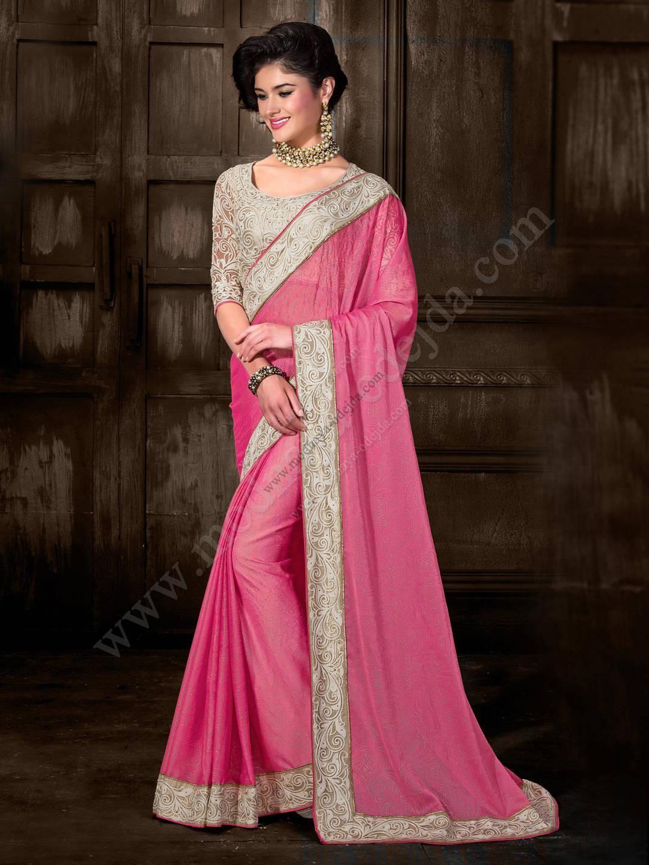 Розовое красивое индийское сари из шифона