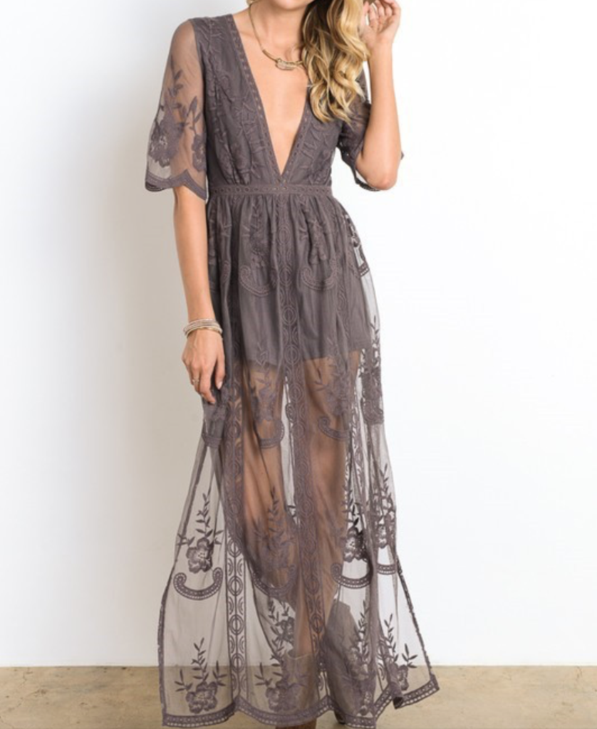 Long Stretch Lace Gown with Side Slits