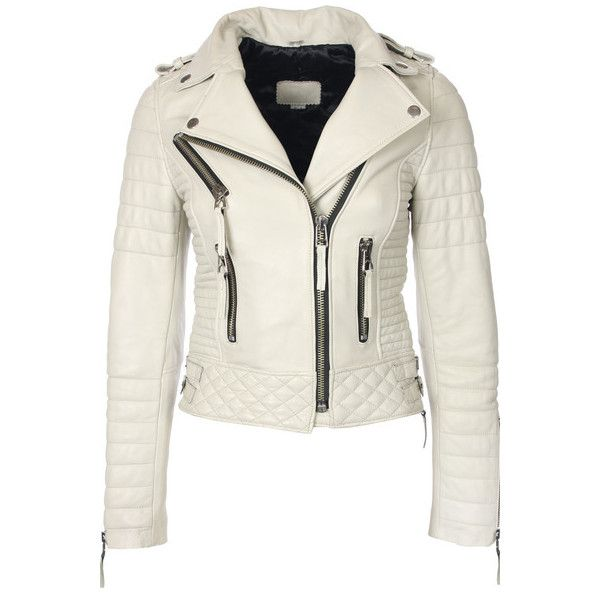 Quilted Biker Leather Jacket (Ivory) ❤ liked on Polyvore ... : white quilted leather jacket - Adamdwight.com