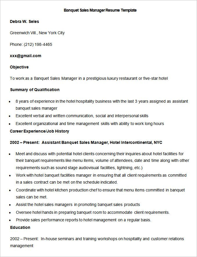 Sample Banquet Sales Manager Resume Template , Write Your Resume - resume template for hospitality