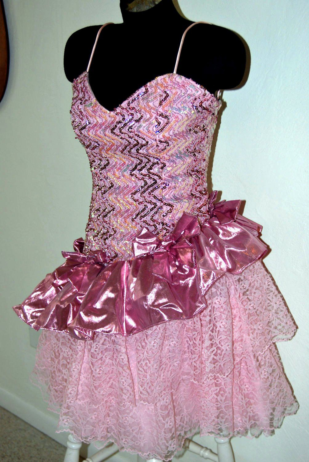 Vintage 80\'s ultimate pink lace sequined and shimmery metallic ...