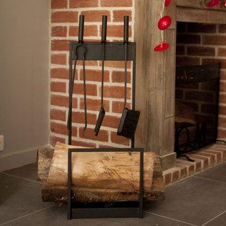 Porte bûche et accessoires cheminée métal 84x30cm Mathilde & Pauline environ 70 €