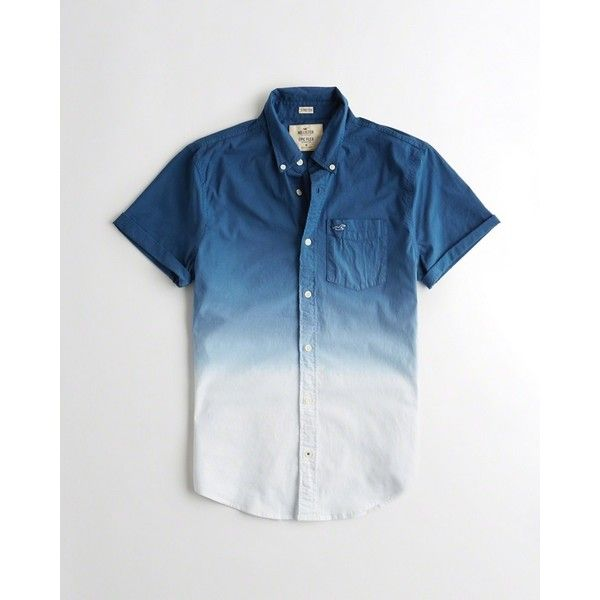 Hollister Stretch Dip-Dye Poplin Shirt ($40) ❤ liked on Polyvore featuring  men's fashion, men's clothing, men's shirts, men's casual shirts, navy o…