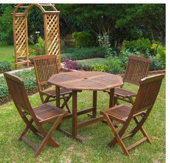 Dining Table Set For 4 Wood Patio And Chairs Garden Stowaway Wooden Outdoo Internationalcaravan