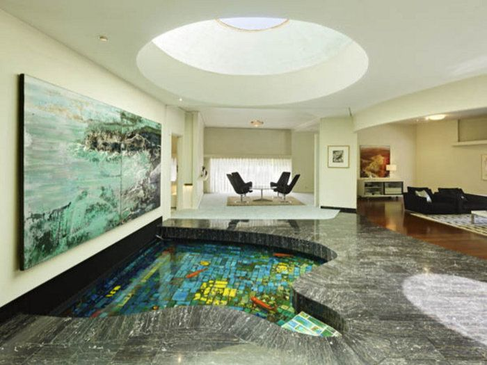 Why don 39 t they build houses with indoor koi ponds and and for Koi pond inside house